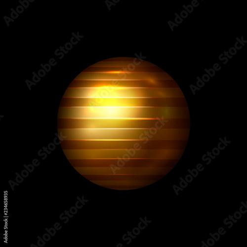 Fototapeta Vector abstract geometric shape. 3d shine gold color sphere. Striped ball isolated on black background. Christmas ornament, logo template, xmas decoration. Vector illustration. EPS 10. obraz na płótnie
