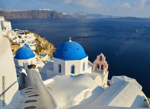 Fotobehang Santorini Blue church in Santorini Island, Greece