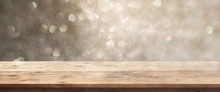 Golden Bokeh Background With W...