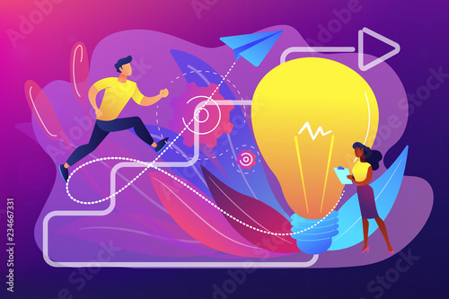 Businessman running up stairs arrow to lightbulb. Creative inspiration, find inspiration and unlocking creativity concept on ultraviolet background. Bright vibrant violet vector isolated illustration
