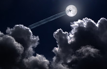 Jet Plane And Contrail On The ...