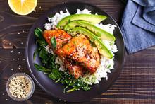 Salmon Teriyaki Rice Bowl With...