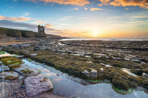Foto auf Leinwand Grau Sunrise over the ruins of Keiss castle on the north east coast of Scotland