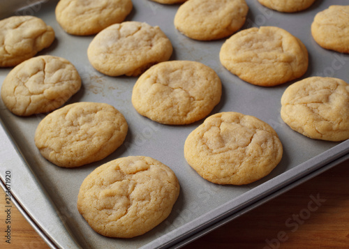 Plain cookies on baking sheet in natural light. Canvas-taulu