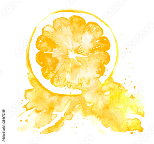 Illustration of yellow citrus, orange, lemon, mandarin painted watercolor. Spray juice, a splash of paint. Watercolor poster, logo with the image of citrus, orange . On an isolated white background. - 234672169