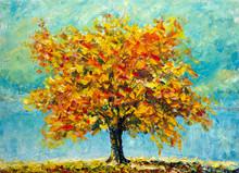 A Big Autumn Tree Against A Blue Sky Background - Impressionism Nature Modern Art Impasto Autumn Landscape Painting