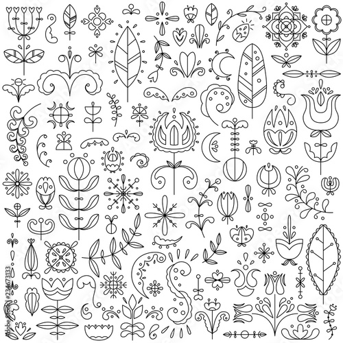 Photo  Vector line set of 90 Scandinavian elements. Flowers and doodles.