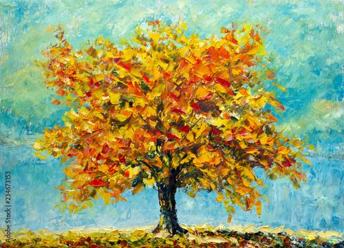 Wielkie jesienne drzewo na niebieskim tle nieba - impresjonizm natura sztuka współczesna impast jesień obraz pejzaż