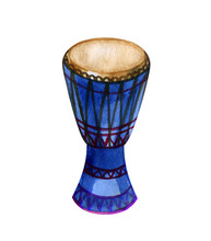 Watercolor Original African Djembe Drum On White Background.