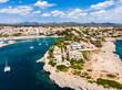 canvas print picture Coast of Porto Cristo with villas and natural harbor, Cala Manacor, Porto Cristo, Mallorca, Balearic Islands, Spain