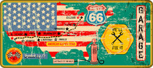 Grungy Vintage Route 66 Garage Sign And Road Map,retro Grungy Vector Illustration