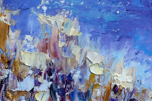 Cadres-photo bureau Lavende Abstract winter artwork - Blue frosty sky, trees in the snow - a textural fragment of painting