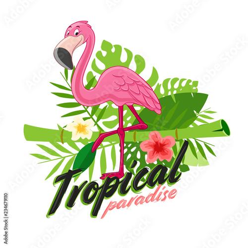 Photo flamingo with flower