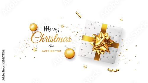 Fototapeta Christmas greeting card. Xmas Banner, poster, background with white gift box and ball. Vector illustration obraz na płótnie