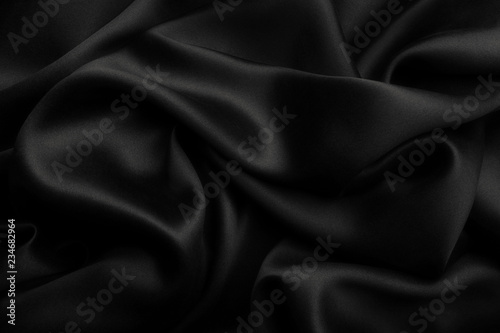 Fotografie, Tablou Black satin silk, elegant fabric for backgrounds