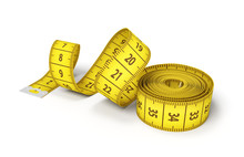 3d Rendering Of A Roll Of A Yellow Measuring Tape Starting To Unroll On A White Background.