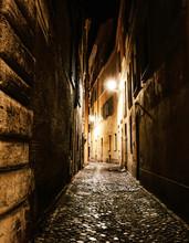 Alleyway In Rome At Night. Vertical Shot