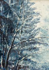 Fototapeta Zima winter landscape. Original oil painting on canvas. Winter theme. Winter forest: trees have a lot of white snow.