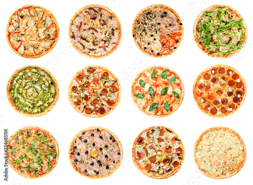 Italian pizza set isolated on white background