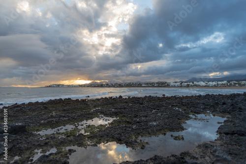 Volcanic coastline landscape, Puerto del Carmen, Lanzarote, Canary islands, Spain