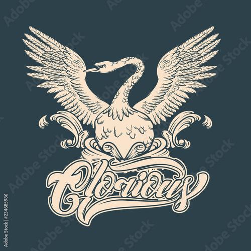 Fotografie, Tablou  Glorious. Vector hand drawn illustration of swan .