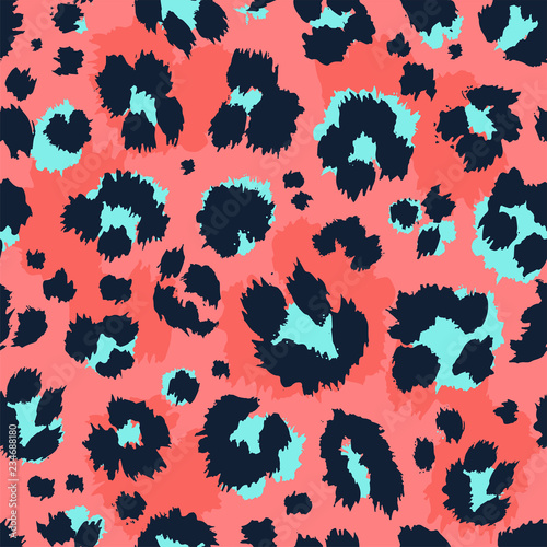 plakat Leopard pattern design funny drawing seamless pattern. Lettering poster or t-shirt textile graphic design wallpaper, wrapping paper.