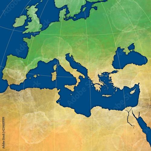 Landkarte Vom Mittelmeer Mit Europa Afrika Kleinasien Buy This