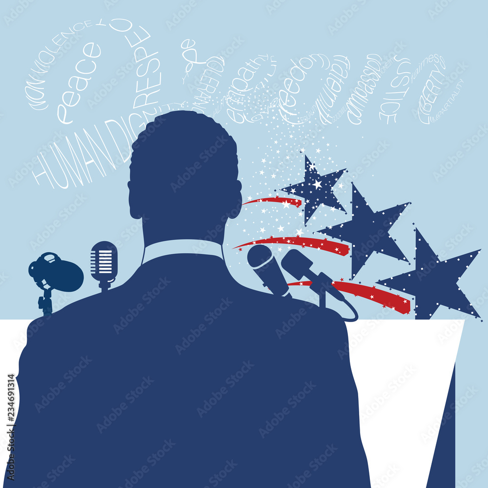 Fototapety, obrazy: A vector back view silhouette illustration in blue with a typography artwork of the word Dream in white on the background