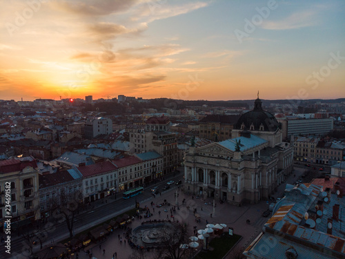 Photo Stands Kiev beauty sunset over old european city. birds eye view