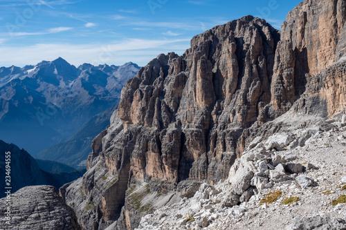 View of the mountain peaks Dolomites. Brenta, Italy