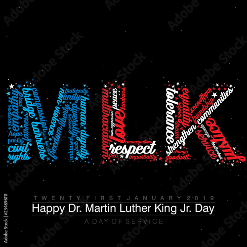 Photo Typography design with words on the text MLK in American Flag colors on an isola