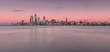 Panorama of Midtown Manhattan at sunset from the hudson river