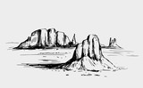 Sketch of the desert of South America. Prairie landscape. Hand drawn vector illustration