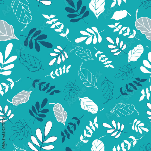 Vector Light Teal Tossed Floral and Leaves Mix Seamless Background Pattern Design. Perfect for fabric, wallpaper, stationery and scrapbooking projects