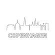 Copenhagen skyline and landmarks silhouette black vector icon. Copenhagen panorama. Denmark