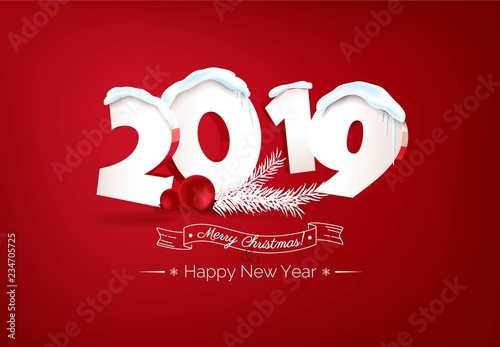 Happy New Year 2019 Text Design Happy Holidays Banner With 2019 3d