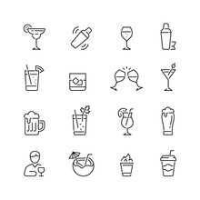 Alcohol Related Icons: Thin Ve...