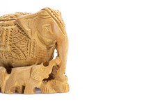 Carved Wooden Elephant With Ca...