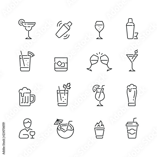 Fotografia Alcohol related icons: thin vector icon set, black and white kit