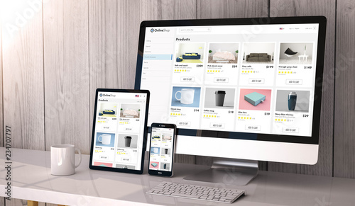 Fototapety, obrazy: devices responsive on workspace online shop website design