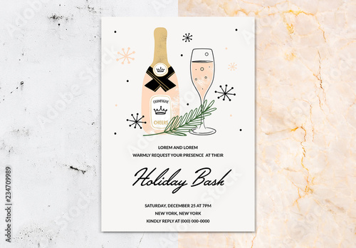 Party Invitation Layout With Champagne Illustration Buy