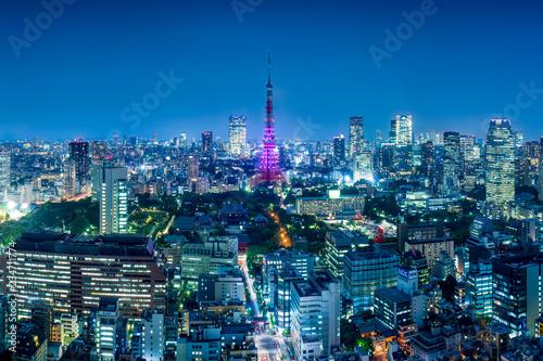 Poster Aziatische Plekken Tokyo Tower im Winter bei Nacht, Japan