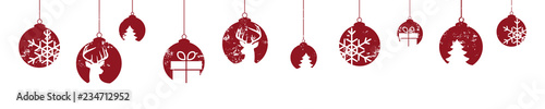 Deurstickers Bol Weihnachten Christbaumkugel Banner rot