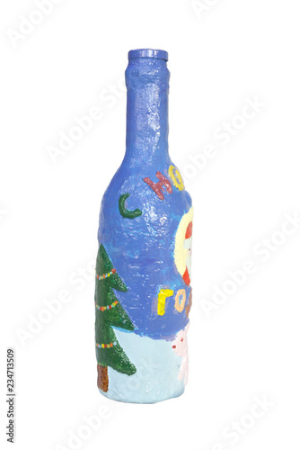 A bottle of designer gypsum and glass with the inscription: Happy New Year in Russian Wallpaper Mural