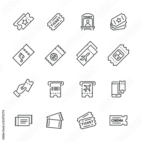 Fotomural Tickets related icons: thin vector icon set, black and white kit