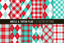 Aqua Blue And Red Argyle And T...