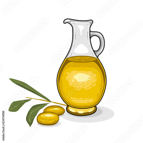 Fototapeta Glass bottle of olive oil and branch of olives on isolated white background. obraz