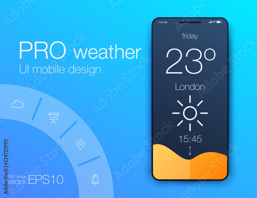 Foto Weather UI. Material Design. Stock Vector illustration