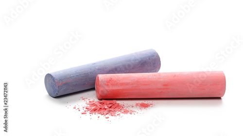 Leinwand Poster Colorful chalks isolated on white background