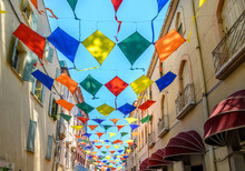 Kites As Street Decoration In Céret, Roussillon France